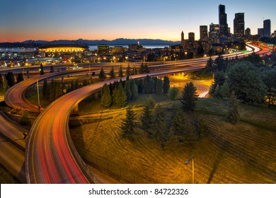 Seattle Washington Downtown City Highway Light Trails at Sunset