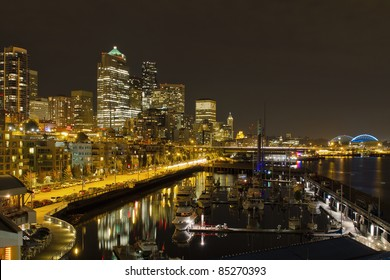 Seattle Washington Downtown Waterfront Skyline at Night Reflection
