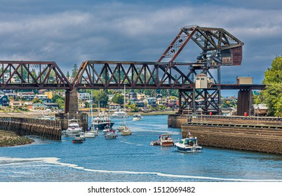SEATTLE, WASHINGTON - July 4, 2019: The Ballard Locks, is a complex of locks at the west end of Salmon Bay, in Lake Washington Ship Canal, between Puget Sound and Lake Union.