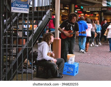Seattle, Washington. March 26th, 2016. Street performers at Pike Place Market Market.