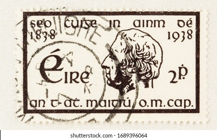 SEATTLE WASHINGTON - March 29, 2020: Close up of postage stamp from Ireland with portrait of Father Theobald Mathew. Scott  101.
