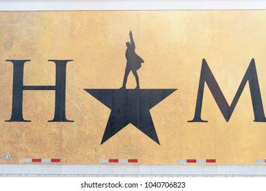 Seattle, Washington March 6th 2018: The Paramount theater showing the Broadway musical Hamilton, close up of travel trailer art signage.
