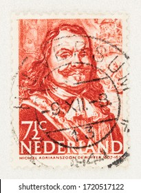 SEATTLE WASHINGTON - May 1, 2020: 1943 Stamp of Netherlands featuring  Michiel Adriaanszoon de Ruyter, Dutch Admiral of the sea. Scott # 252