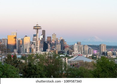 SEATTLE, WASHINGTON, MAY 12, 2018: The Seattle skyline at sunset as seen from Queen Anne Hill's Kerry Park.