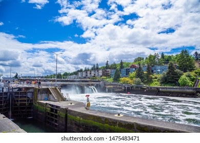 SEATTLE, WASHINGTON - May 14, 2017: The Ballard Locks, is a complex of locks at the west end of Salmon Bay, in Lake Washington Ship Canal, between Puget Sound and Lake Union.