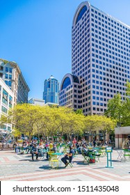 SEATTLE, WASHINGTON - May 20, 2017: Seattle's Westlake Park is a central location and convenient to nearby tourist destinations.