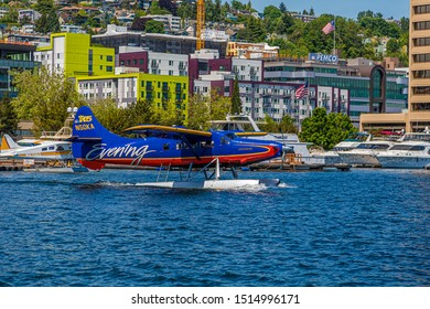 SEATTLE, WASHINGTON - May 21, 2017: Logging was Seattle's first major industry, but this has long been replaced by shipping, tourism, technology, and music, and has a strong counter-culture presence.