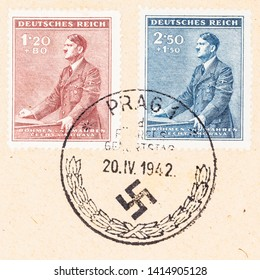 SEATTLE WASHINGTON - MAY 21, 2019: Close up cover of Adolf Hitler's 53 birthday  issued April 20, 1942 for Bohemia/Moravia during WWII. Two  stamps with Prague cancellations on buff envelope.