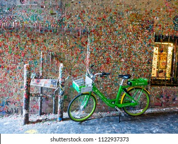 Seattle, Washington - May 27, 2018: The Market Theater Gum Wall is the famous wall covered in chewing gum located in downtown Seattle.