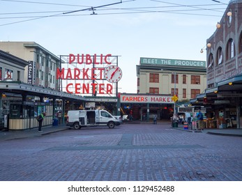 Seattle, Washington - May 27, 2018: Pike Place Market is a public market in Seattle and one of the oldest farmer's markets.
