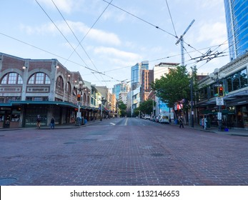 Seattle, Washington - May 27, 2018: empty street near Pike Place Market, the famous public market in Seattle.