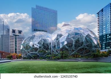 Seattle, Washington  November 7th 2018 Amazon company world headquarters,  glass Spheres at the Seattle Amazon headquarters,