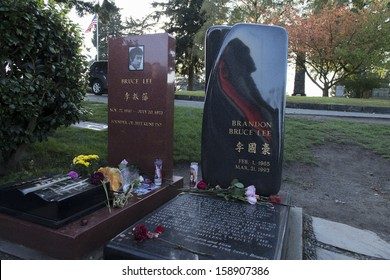SEATTLE, WASHINGTON- OCTOBER 13: Bruce Lee and Brandon Bruce Lee's grave, October 10, 2013 Seattle, Washington. Bruce Lee was a famous Hong Kong American martial artist, Hong Kong action film actor.