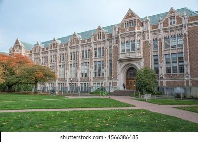 Seattle, Washington: October 24, 2019: The University of Washington campus in the city of Seattle. There are 46,166 students enrolled at the University of Washington.