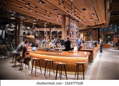 Seattle, Washington: October 28, 2019: Starbucks Reserve Roastery in Seattle, Washington. The Starbucks Reserve Roastery in Seattle, Washington opened in December 2014.
