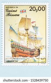SEATTLE WASHINGTON - October 5, 2019: Stamp issued in 1985 by Guine Bissau Africa, featuring the Mayflower, a 17th century British Tall Ship. Scott # 665.