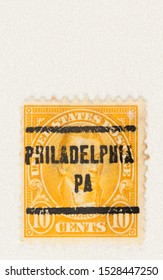 SEATTLE WASHINGTON - October 5, 2019: 10 cent postage stamp of the 5th president of the United states, James Monroe, pre-cancelled with Philadelphia PA.