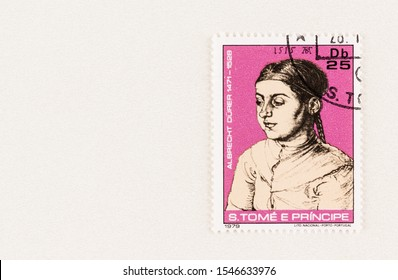 SEATTLE WASHINGTON - October 5, 2019: Portrait of 1515  by Albrecht Durer  of a female child on a Sao Tome and Principe postage stamp issued in 1979. Issue commemorates 450 anniversary artist's death
