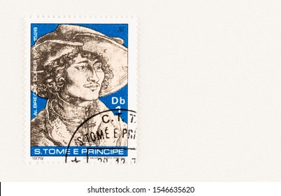 SEATTLE WASHINGTON - October 5, 2019: Portrait of 1503  by Albrecht Durer of elegant man with hat on Sao Tome and Principe postage issued in 1979. Issue commemorates 450 anniversary of artist's death.