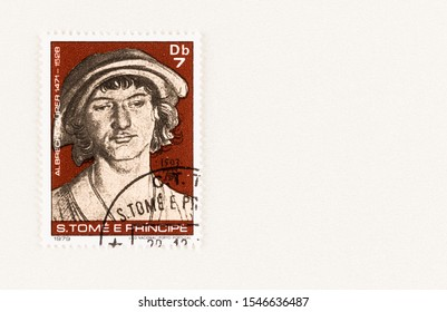 SEATTLE WASHINGTON - October 5, 2019: Portrait of 1503  by Albrecht Durer  of a young man with hat on a Sao Tome and Principe stamp issued in 1979. Issue commemorates 450 anniversary of artist's death