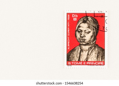 SEATTLE WASHINGTON - October 5, 2019: Portrait of 1521  by Albrecht Durer of Moorish woman on a Sao Tome and Principe postage stamp issued in 1979. Issue commemorates 450 anniversary of artist's death