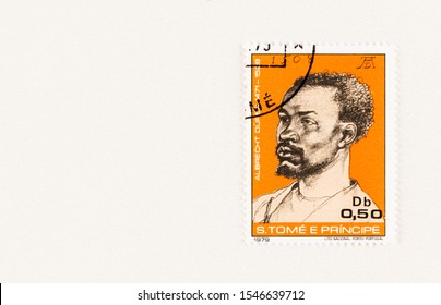 SEATTLE WASHINGTON - October 5, 2019: Portrait of 1508  by Albrecht Durer of man with beard on Sao Tome and Principe postage stamp issued in 1979. Issue commemorates 450 anniversary of artist's death