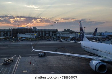 Seattle, Washington - September 06 : Beautiful Sunrise in viewed from the Alaska Airlines wing in the Sea-Tac Airport. September 06 2017, Seattle Washington.