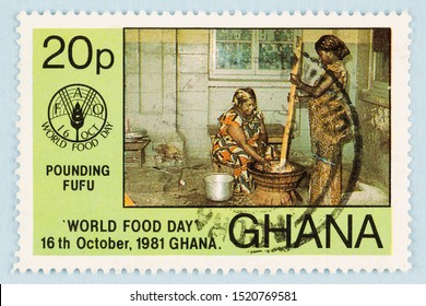 SEATTLE, WASHINGTON - September 25, 2019: Close up of Ghana commemorative postage stamp celebrating  World Food Day, and promotion or  food security.  Ghana women preparing food, pounding Fufu.
