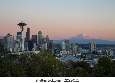 SEATTLE, WASHINGTON - SEPTEMBER 27, 2015. Downtown Seattle and Mt.Rainier