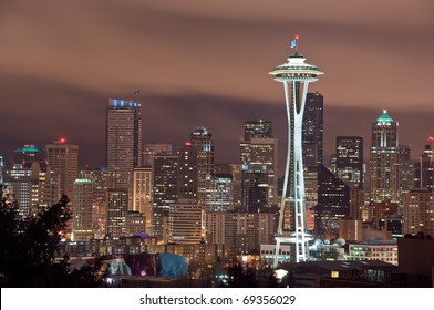 The Seattle, Washington skyline at night.