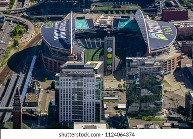 SEATTLE, WASHINGTON STATE - MAY 31, 2018: Aerial view of the CenturyLink Field and the Safeco Field, the main stadiums of Seattle.