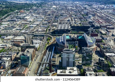 SEATTLE, WASHINGTON STATE - MAY 31, 2018: Aerial view of the CenturyLink Field and the Safeco Field, the main stadiums of Seattle located in the industrial district.