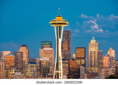 Seattle, Washington State, United States - July 12, 2012: Skyline of downtown at dusk.