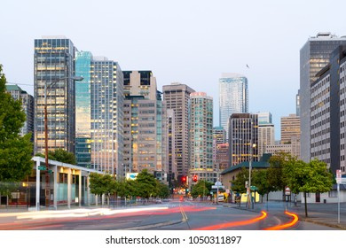 Seattle, Washington State, United States - July 08, 2012: 7th Avenue and buildings of downtown at dusk.