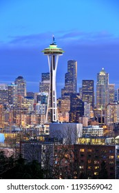 Seattle, Washington State, USA-February 01, 2014 : View of Space Needle and Seattle skyline at night from Kerry Park.