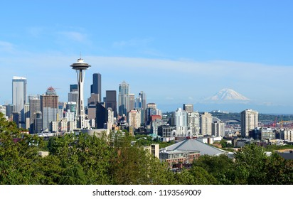Seattle, Washington State, USA-June 21, 2014 : View of Space Needle and Seattle skyline from Kerry Park.