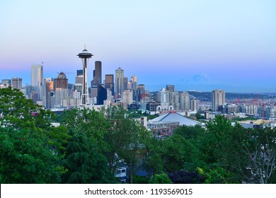 Seattle, Washington State, USA-June 21, 2014 : View of Space Needle and Seattle skyline at sunset from Kerry Park.
