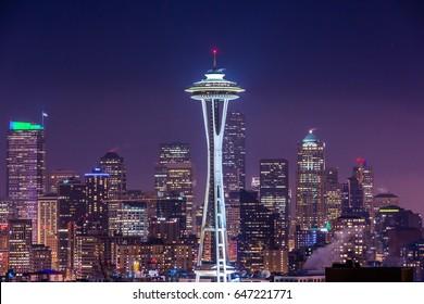 SEATTLE, WASHINGTON, UNITED STATES - JANUARY 15, 2014: Seattle Space Needle at night