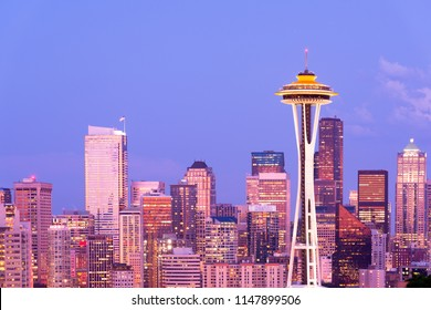 Seattle, Washington / United States - July 12, 2012:  Skyline of downtown at night.