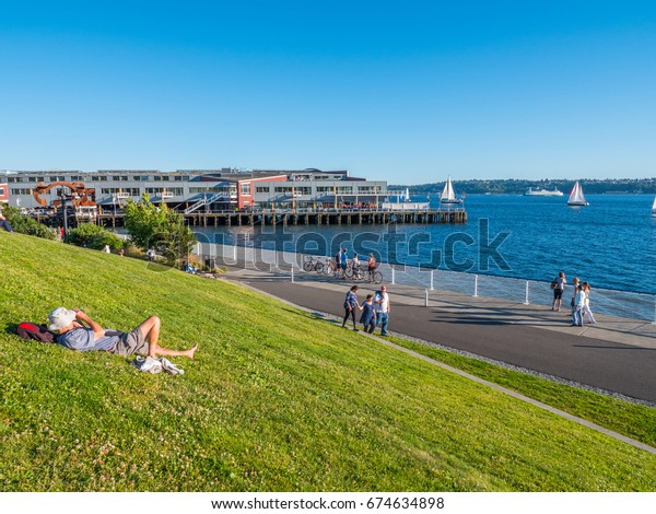 SEATTLE, WASHINGTON, UNITED STATES - JUNE 22, 2017: Rest in the Olympic Sculpture Park, summer.