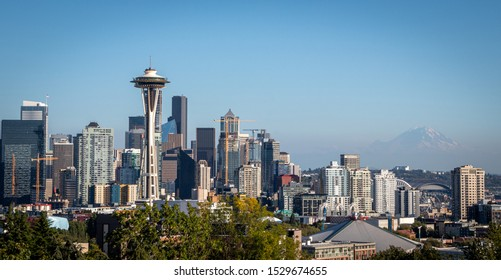 Seattle, Washington, United States - September 5, 2019: View of the city from Kerry Park