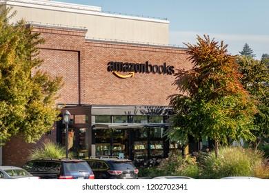 Seattle, Washington / USA - 10/04/2018: Flagship store Amazon Books Bookstore at University Village Seattle Washington