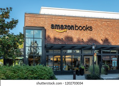 Seattle, Washington / USA - 10/04/2018 Flagship store Amazon Books Bookstore at University Village Seattle Washington