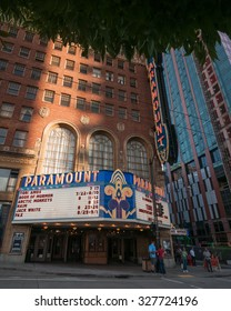 SEATTLE, WASHINGTON, USA - 18 JULY 2014: Paramount Movie Theatre on the corner of Pine Street and 9th Avenue