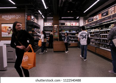 Seattle Washington / USA - 20 April 2018 Inside Amazon Go, a Store of the Future.
