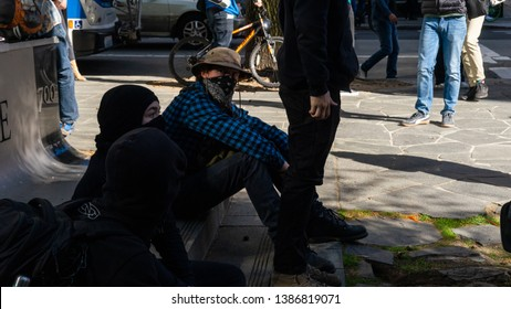 Seattle Washington USA 5/1/2019 Anarchist in the crowd of demonstrators for the May Day Rally