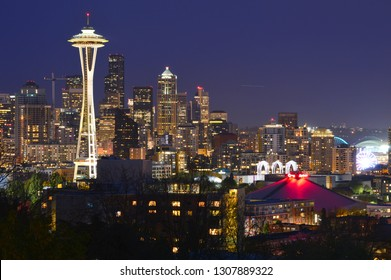 Seattle, Washington, USA - April 17, 2015: Seattle skyline with the Space Needle at Night