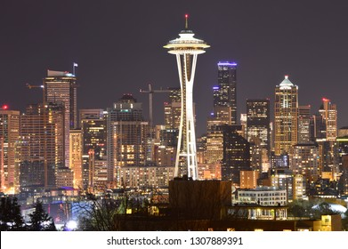 Seattle, Washington, USA - April 17, 2015: Space Needle at night in Seattle
