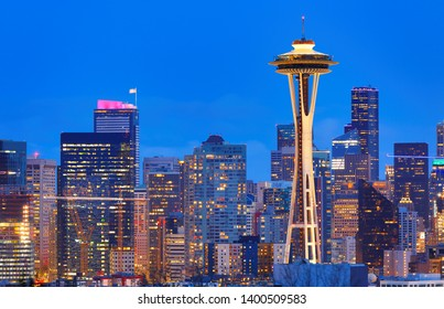 Seattle, Washington USA - April 18, 2019: Seattle Skyline Showing the downtown of Seattle at Sunset viewing from Kerry Park, Seattle Washington USA