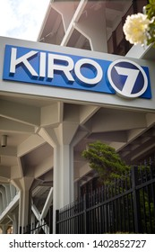 Seattle, Washington / USA - April 21 2019: KIRO 7 sign at the news building in downtown Seattle, a CBS affiliated television station, and Cox Media Group subsidiary, with space for text on bottom
